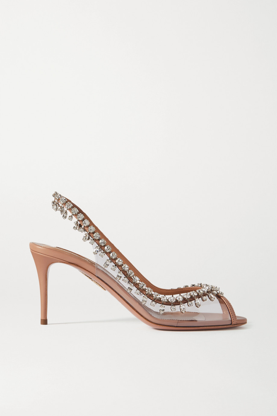Aquazzura Temptation 75 crystal-embellished PVC and leather slingback sandals