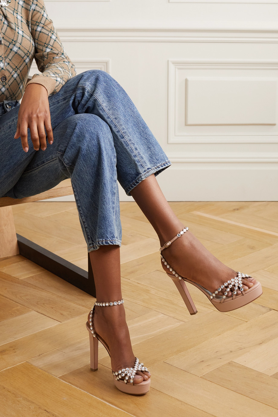 Aquazzura Tequila Plateau 120 crystal-embellished leather platform sandals