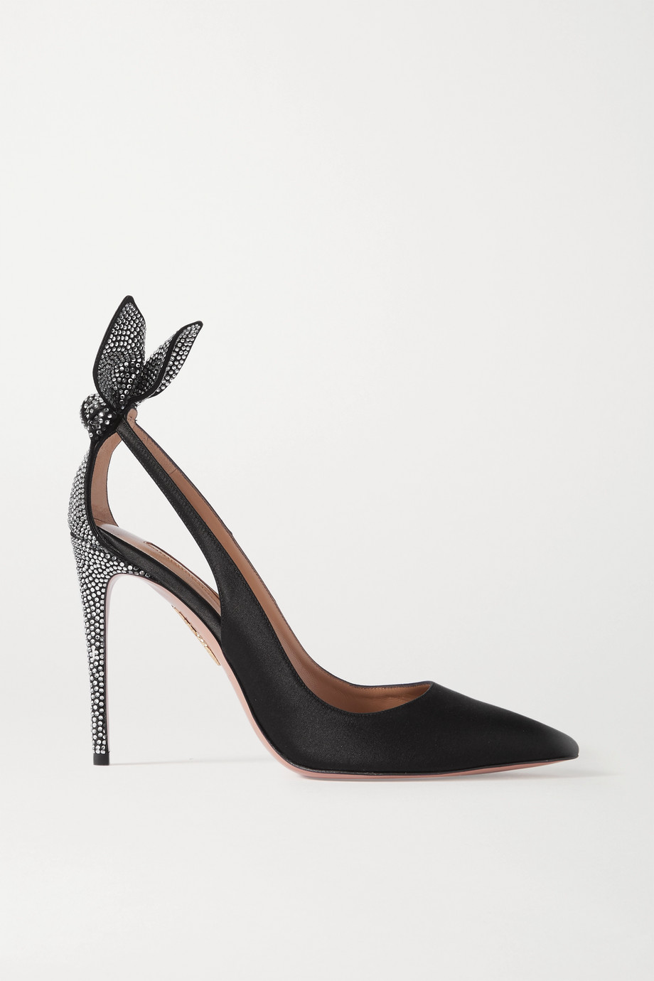 Aquazzura Bow Tie 105 crystal-embellished satin pumps