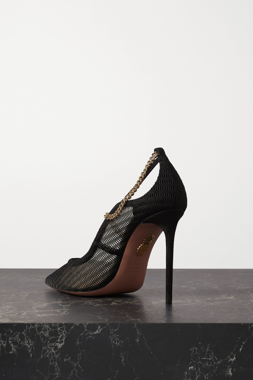 Black Bond Girl 105 Chain-embellished Suede And Mesh Pumps | Aquazzura