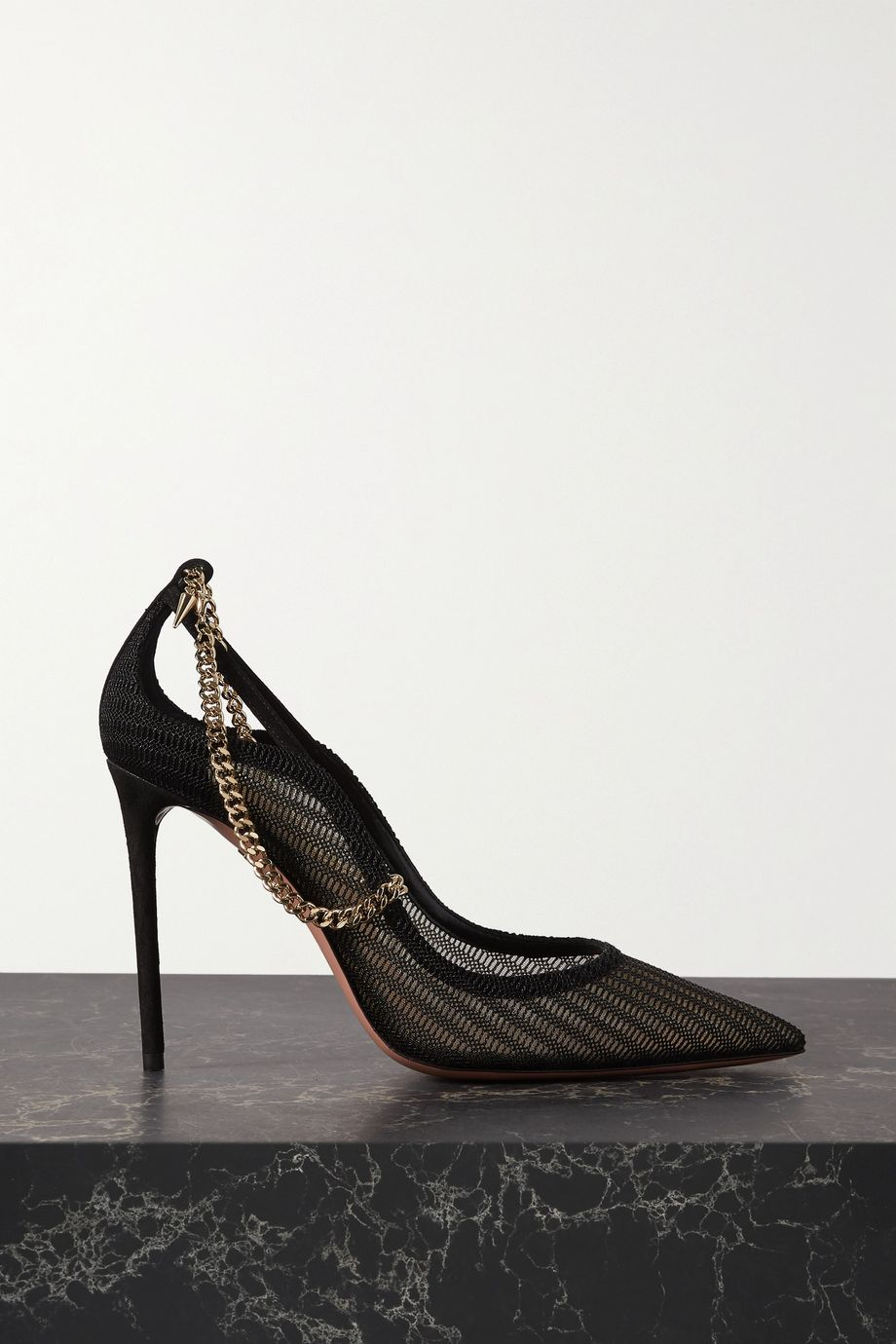 Aquazzura Bond Girl 105 chain-embellished suede and mesh pumps