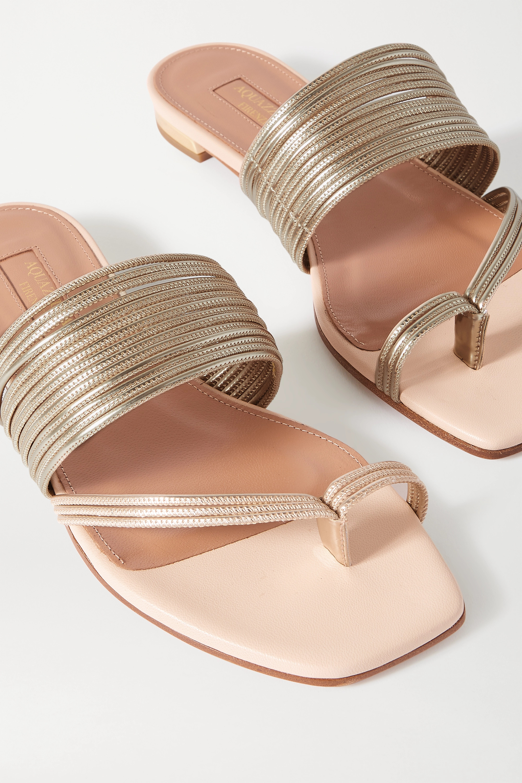 Beige Sunny Metallic Faux Leather Sandals | Aquazzura