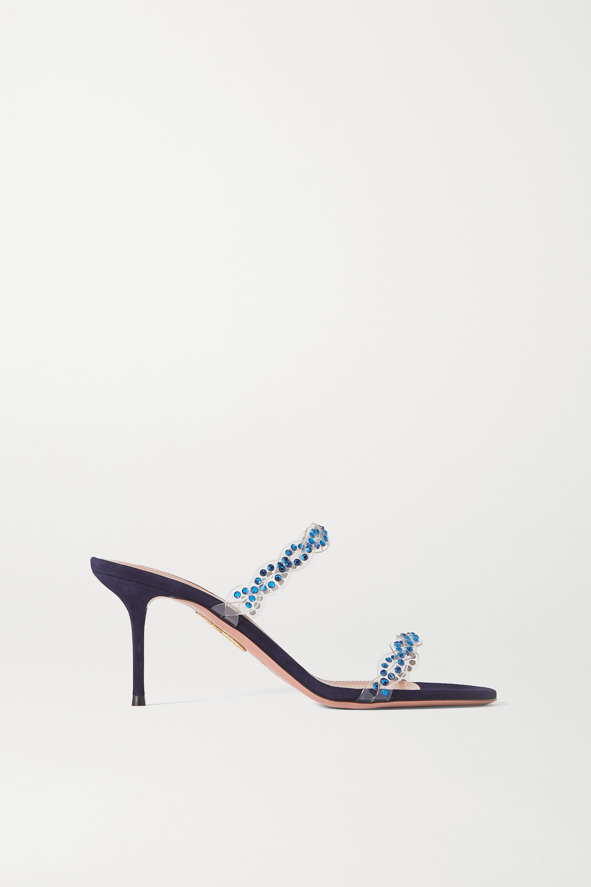 Aquazzura - Heaven 75 crystal-embellished PVC and suede mules