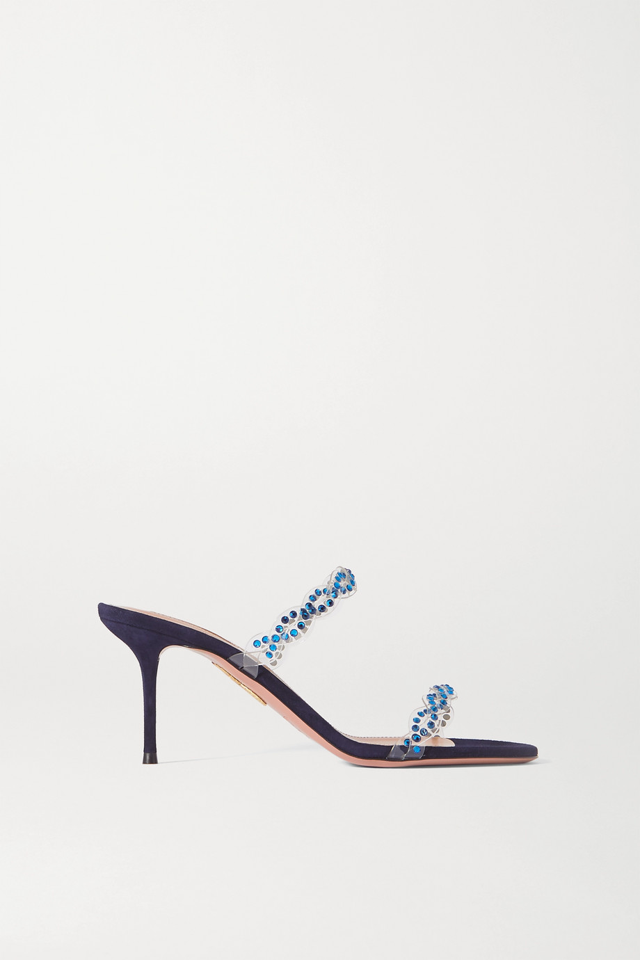Aquazzura Heaven 75 crystal-embellished PVC and suede mules