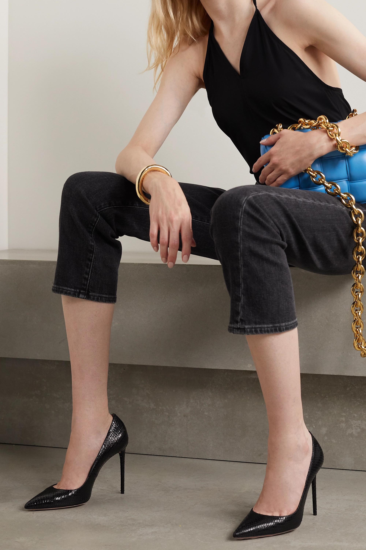 Aquazzura Purist 105 snake-effect leather pumps