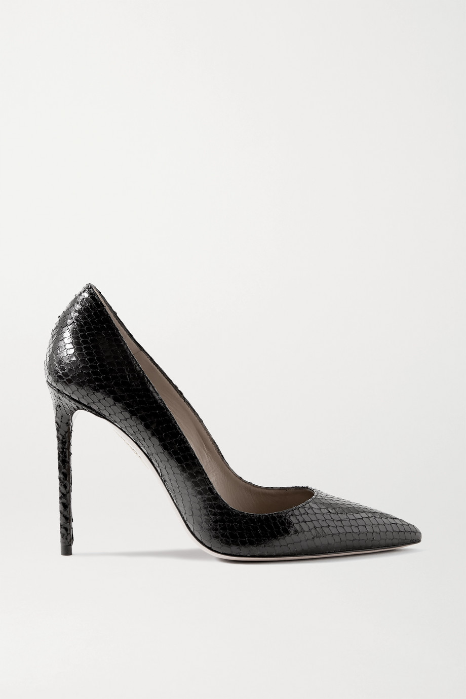 Aquazzura Purist 105 snake-effect leather pumps
