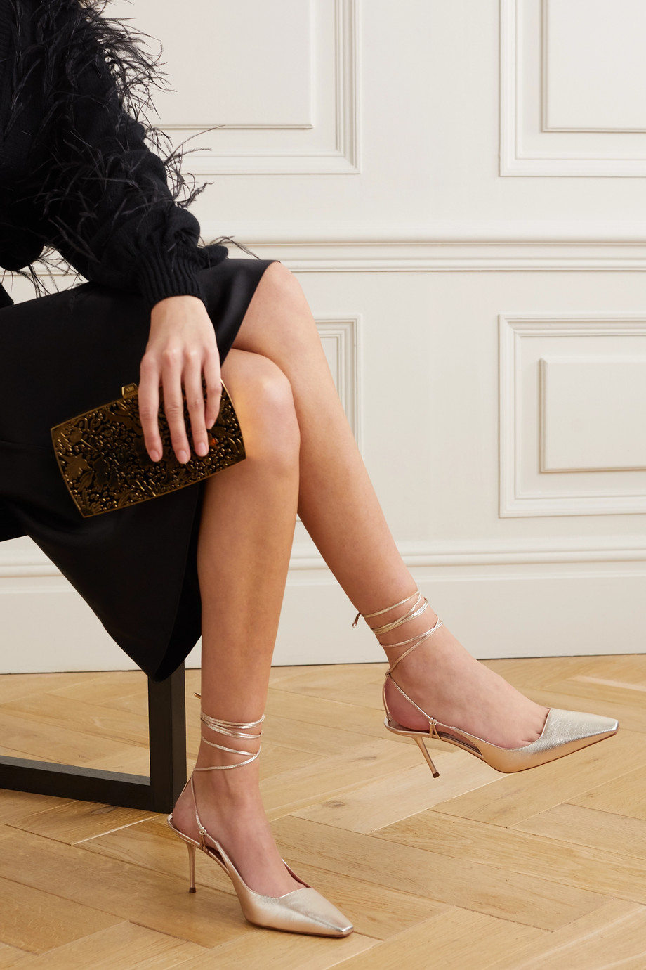 Aquazzura Ambra 75 metallic leather pumps