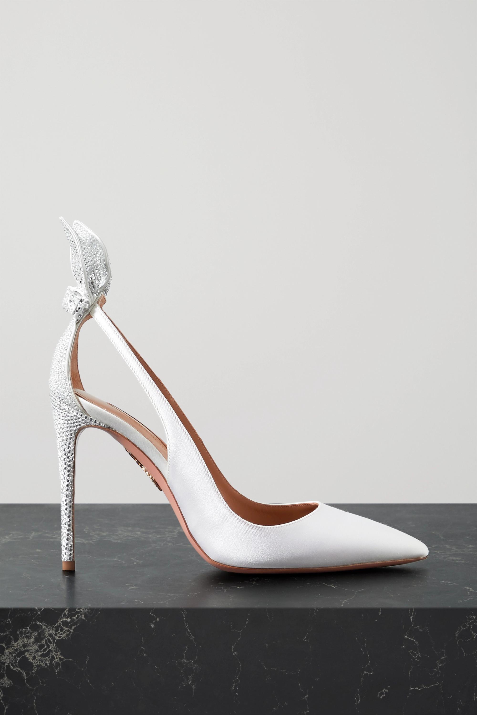 Aquazzura Bow Tie 105 crystal-embellished satin pumps