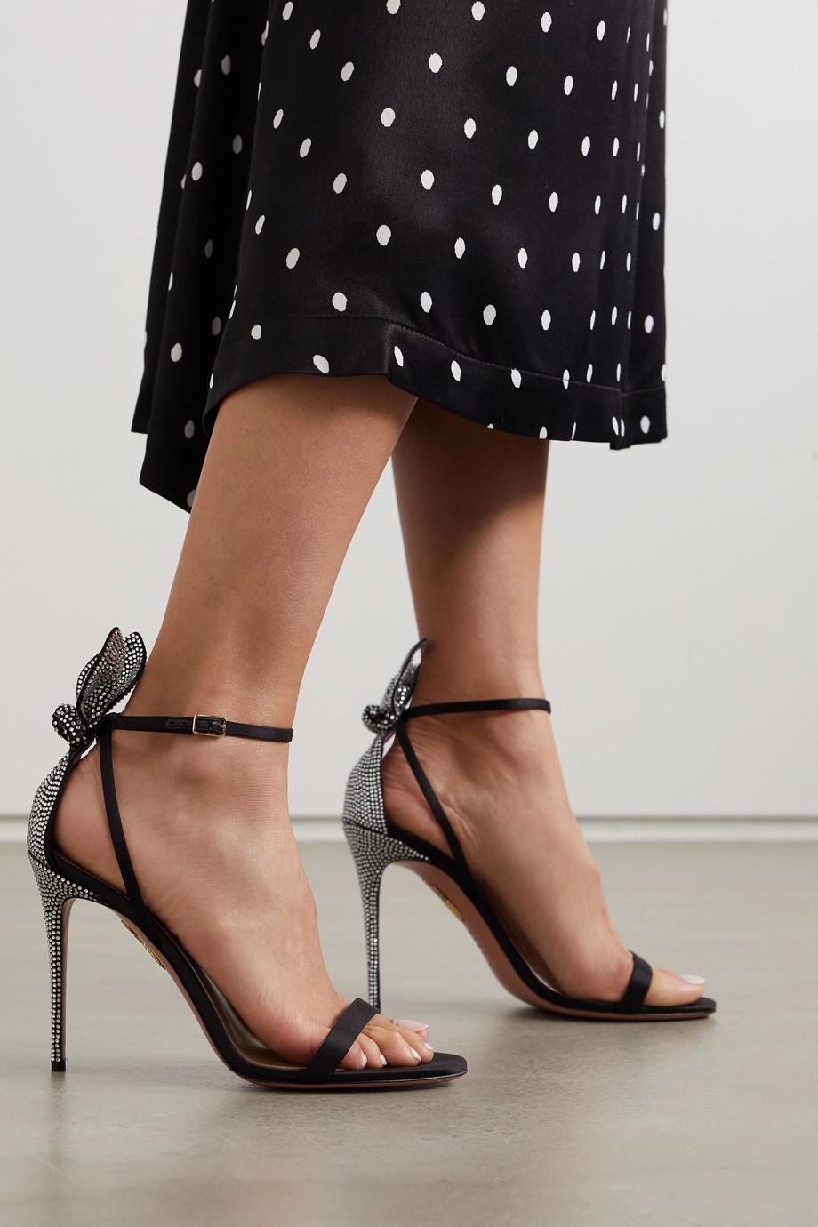 Aquazzura Bow Tie 105 crystal-embellished satin sandals