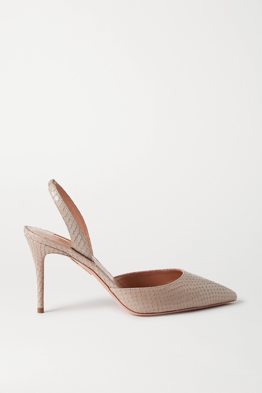 Aquazzura So Nude 85 snake-effect leather slingback pumps