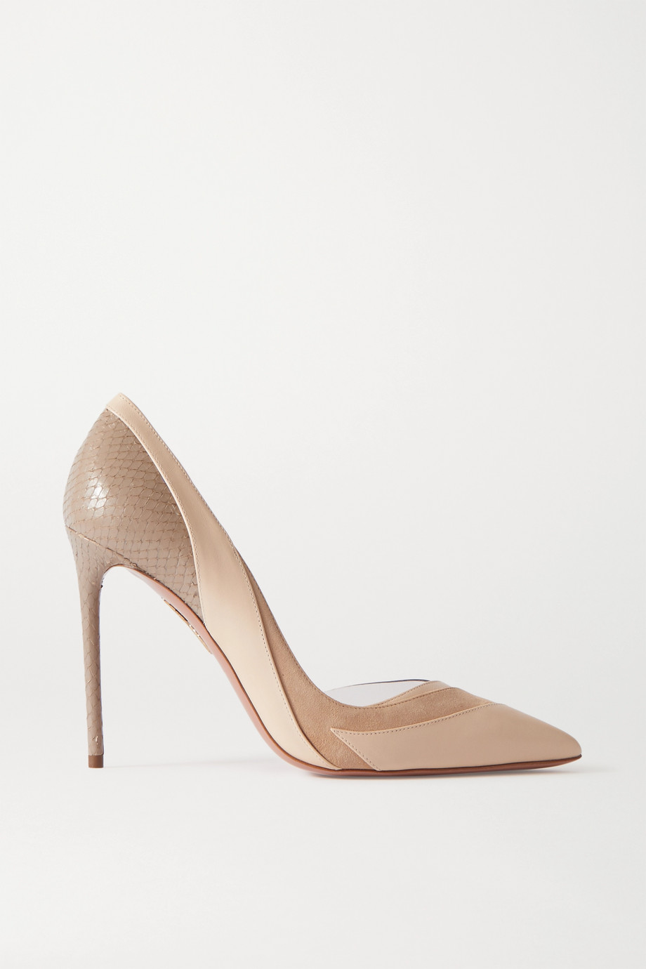 Aquazzura Seine suede, leather and PVC pumps