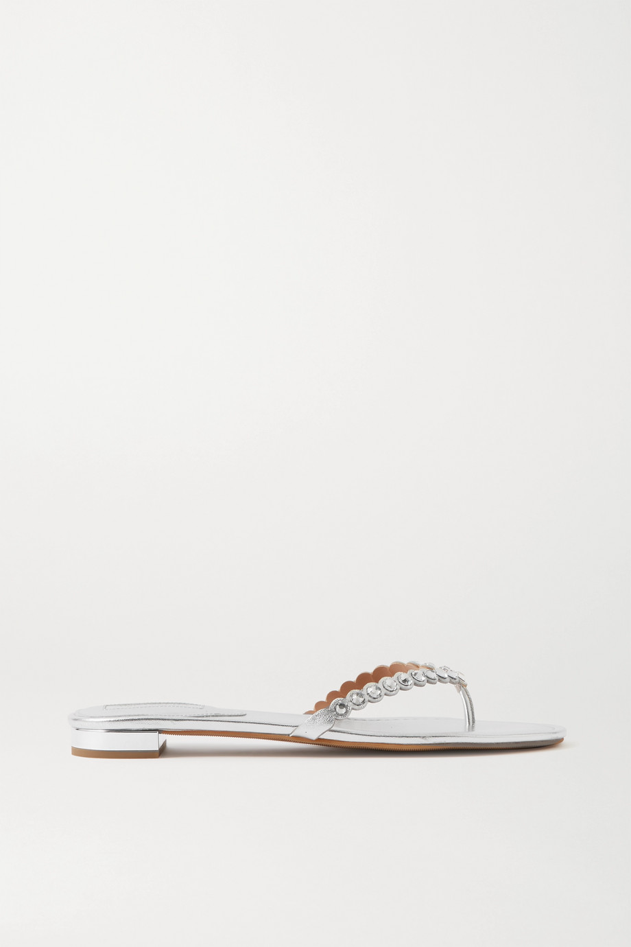 Aquazzura Tequila crystal-embellished metallic leather flip flops