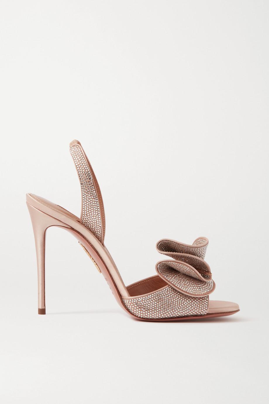 Aquazzura Cherry Crystal 105 ruffled embellished satin slingback sandals