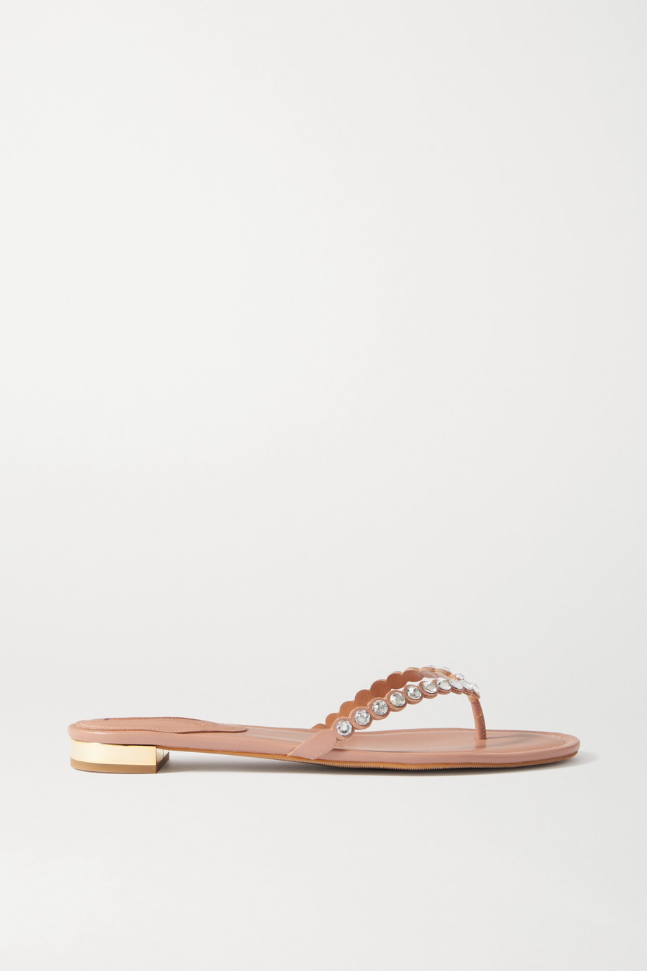 Aquazzura Tequila crystal-embellished leather flip flops