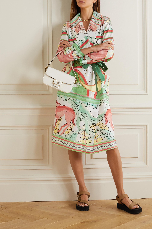 Casablanca Belted printed silk-twill robe