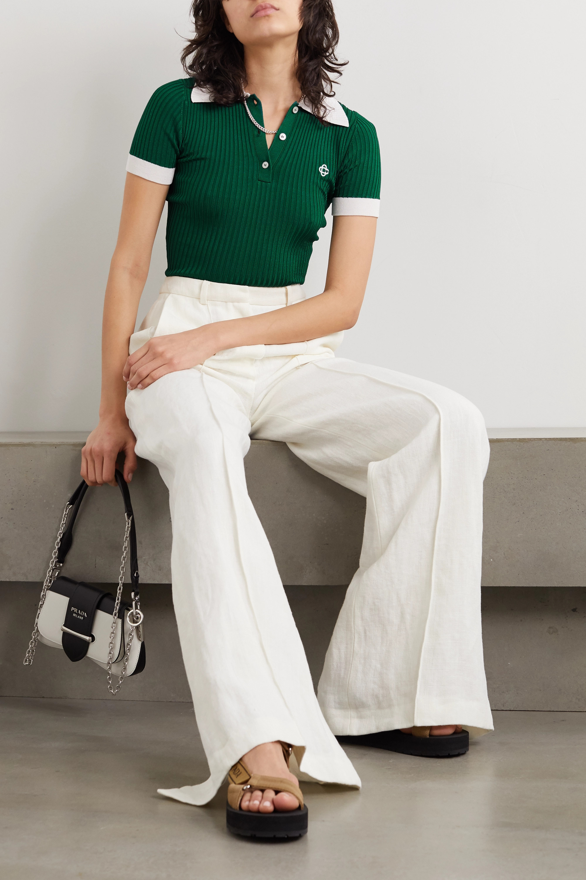 Casablanca Embroidered ribbed-knit top