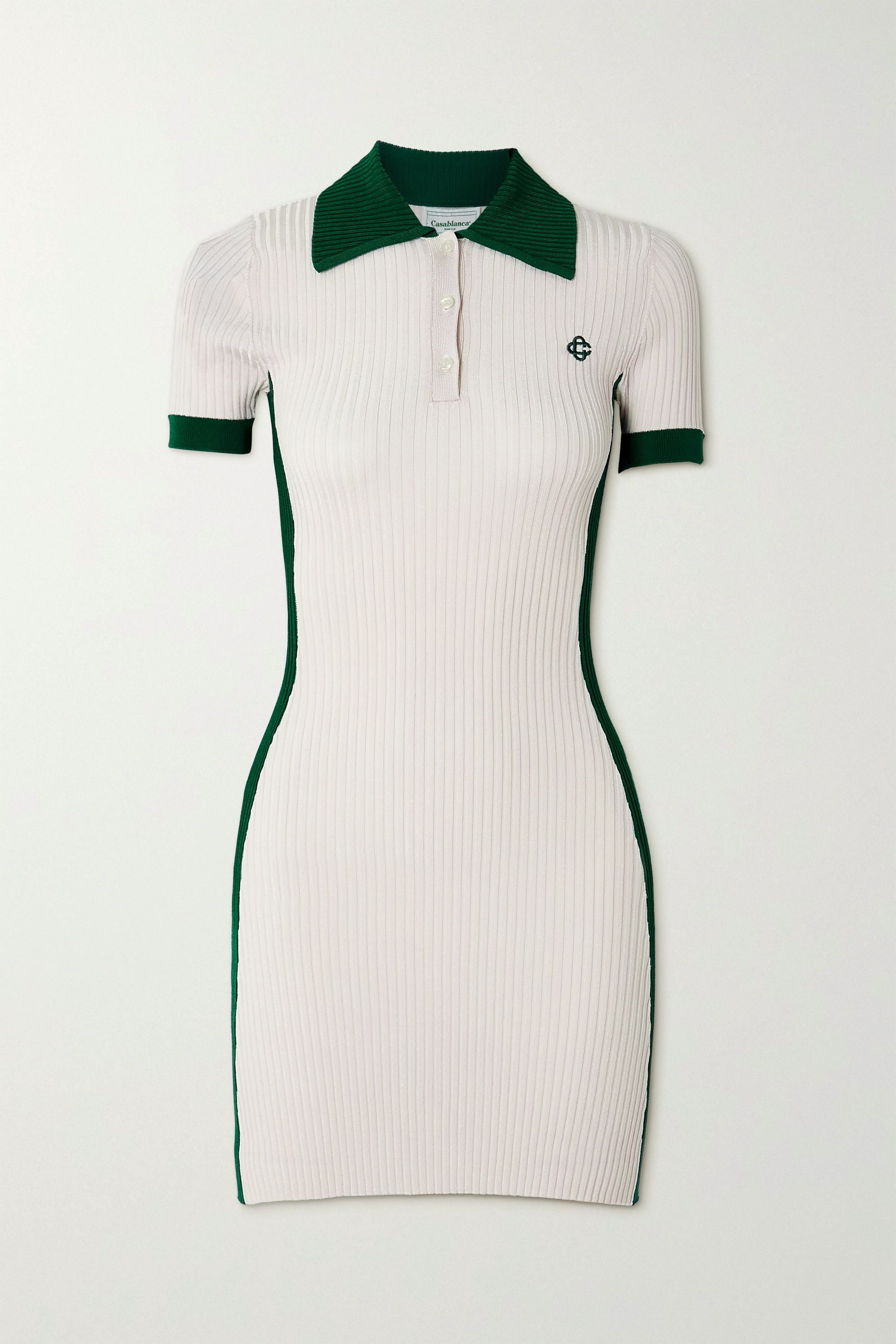 Casablanca Embroidered two-tone ribbed-knit mini dress
