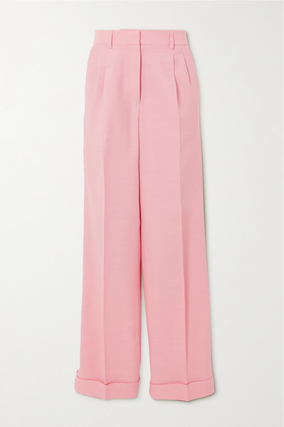 Casablanca Hose mit geradem Bein aus einer Woll-Seidenmischung mit Falten