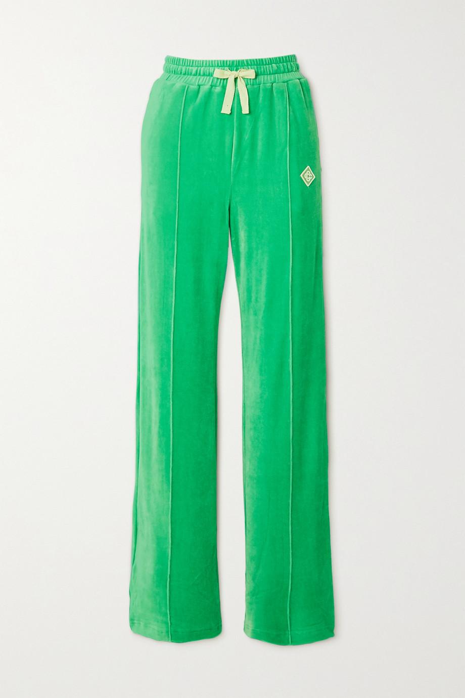Casablanca Appliquéd velour track pants