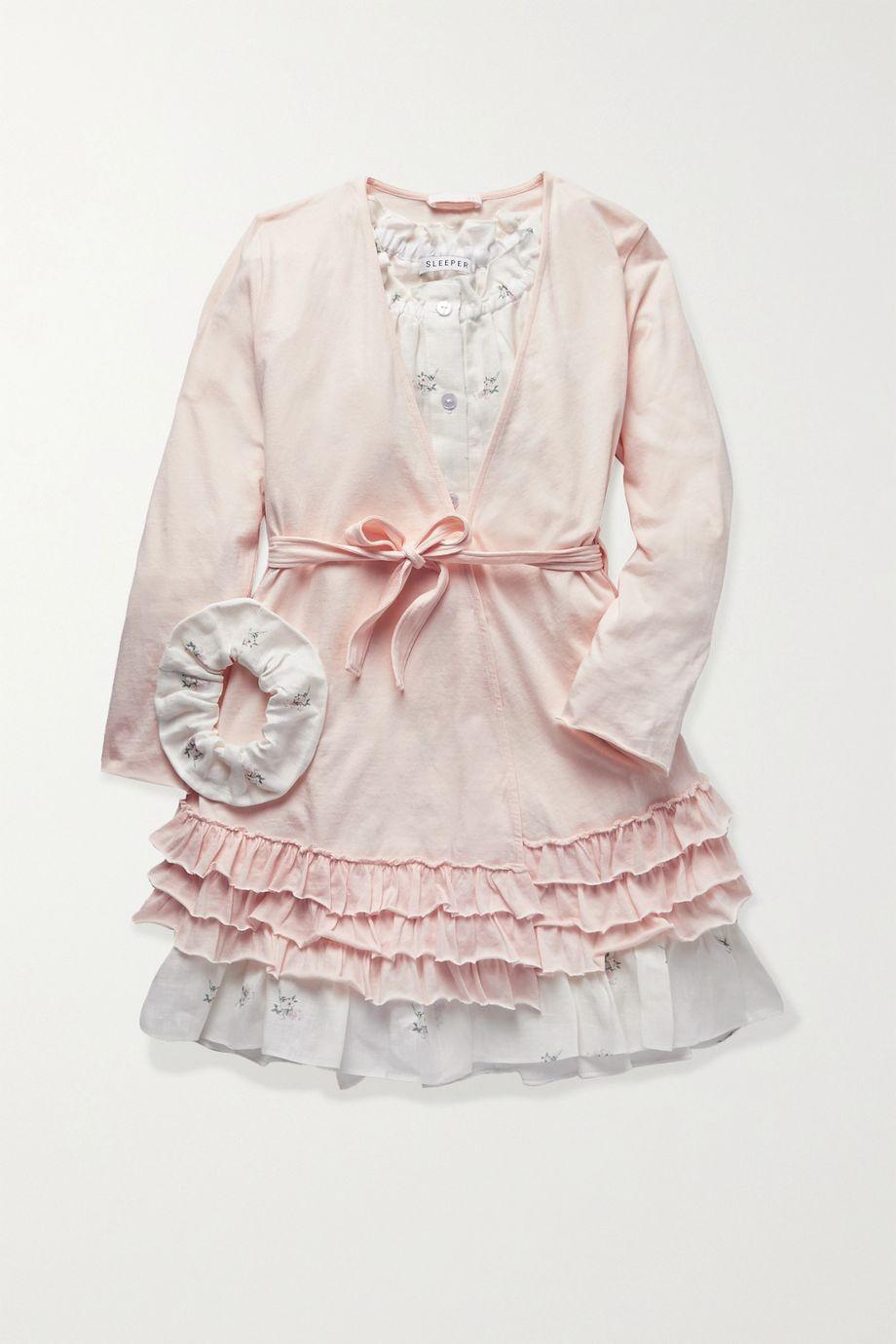 Skin Kids Ages 2 - 10 belted ruffled organic Pima cotton-jersey robe