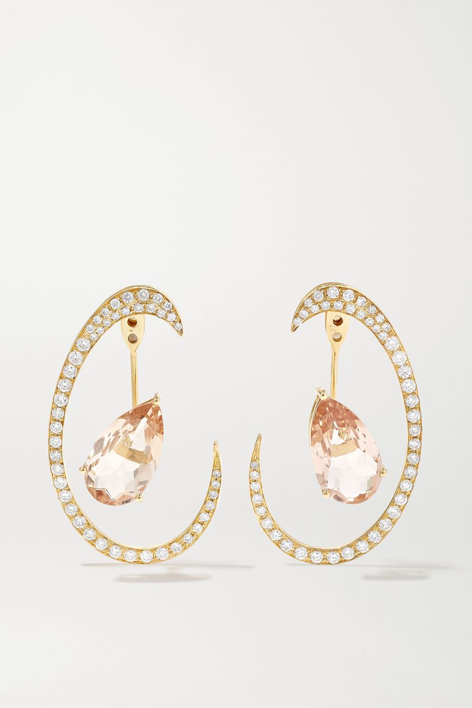 Anissa Kermiche Îles de Madagascar 18-karat gold, morganite and diamond earrings