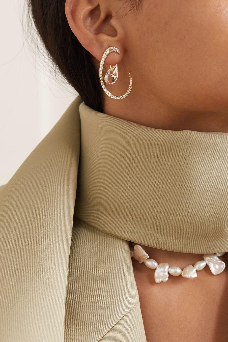 Anissa Kermiche Boucles d'oreilles en or 18 carats, morganites et diamants Îles de Madagascar