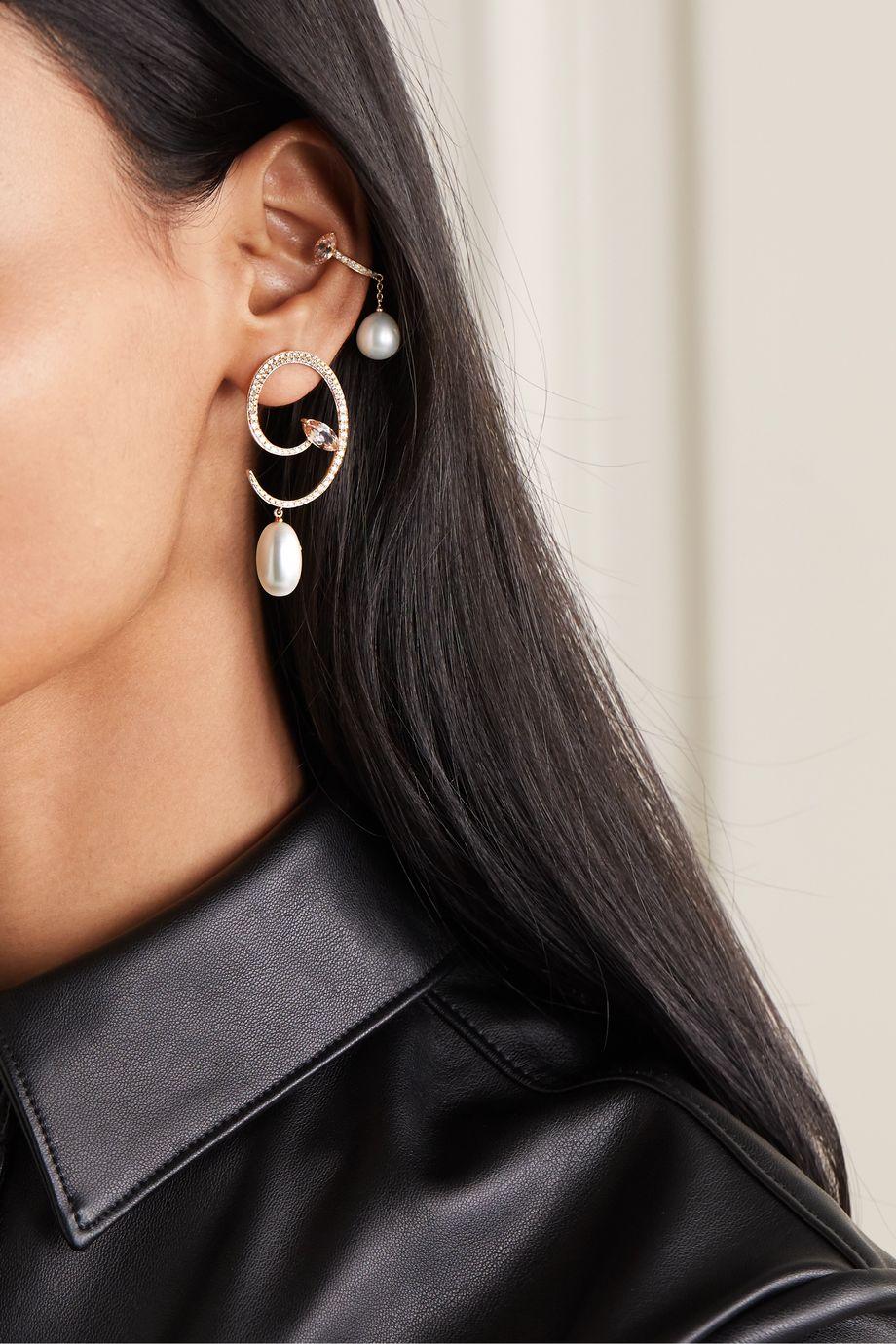 Anissa Kermiche Lola Rose 18-karat gold multi-stone earrings