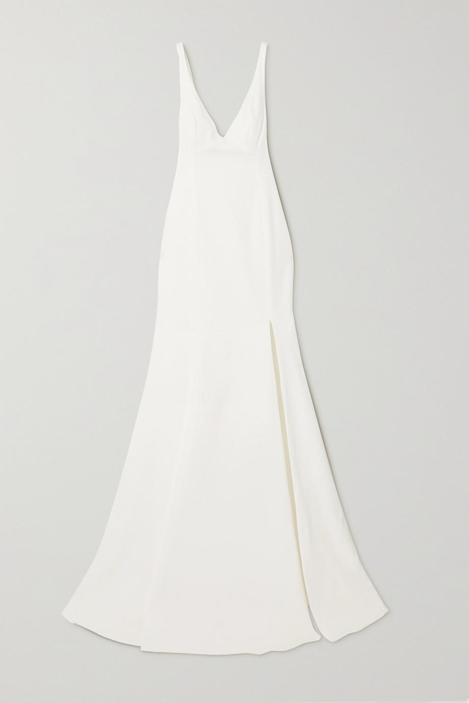 Rime Arodaky Robe de mariée dos ouvert en tulle et en crêpe à broderies et à liens Enola