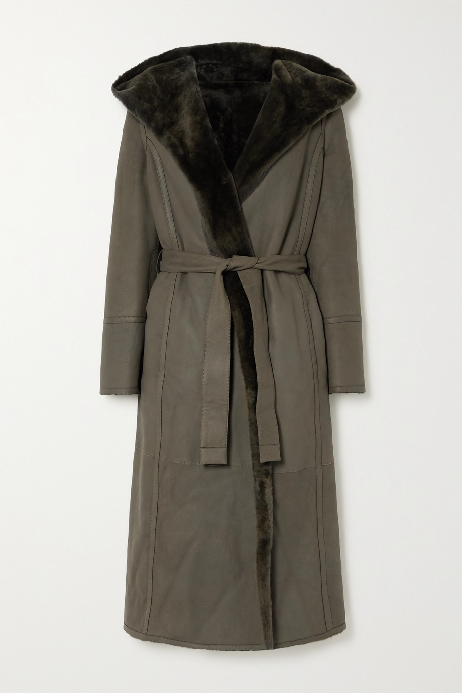 Loro Piana Harvey reversible hooded belted shearling coat
