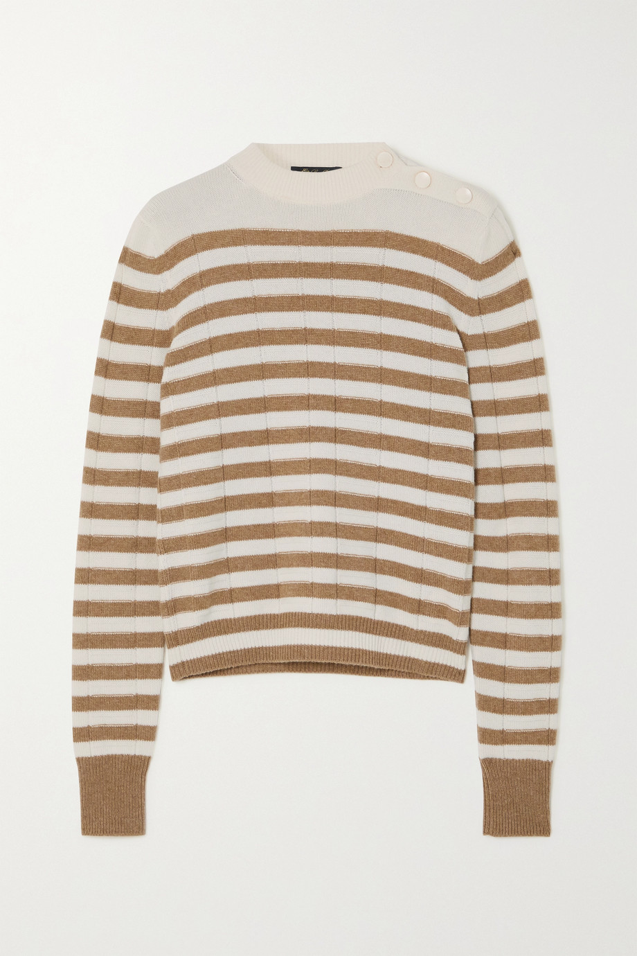 Loro Piana Button-detailed striped cashmere sweater