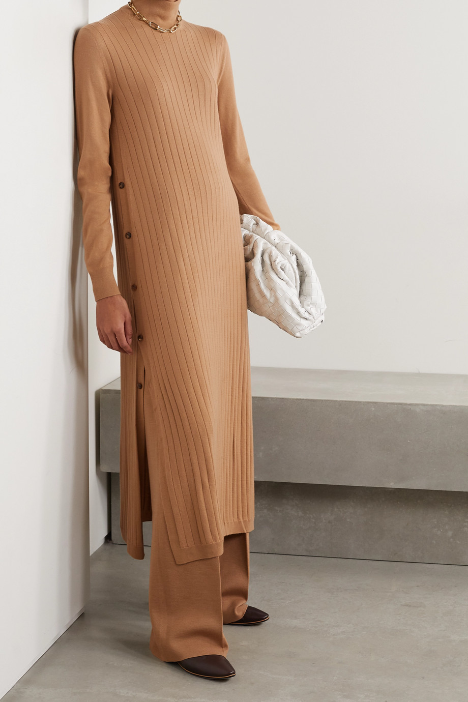 Loro Piana Times Square ribbed cashmere turtleneck midi dress