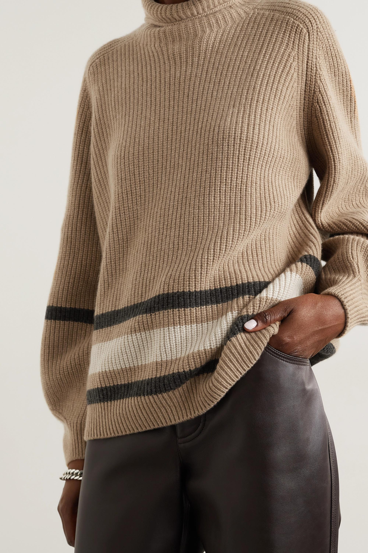 Loro Piana Oversized striped cashmere turtleneck sweater