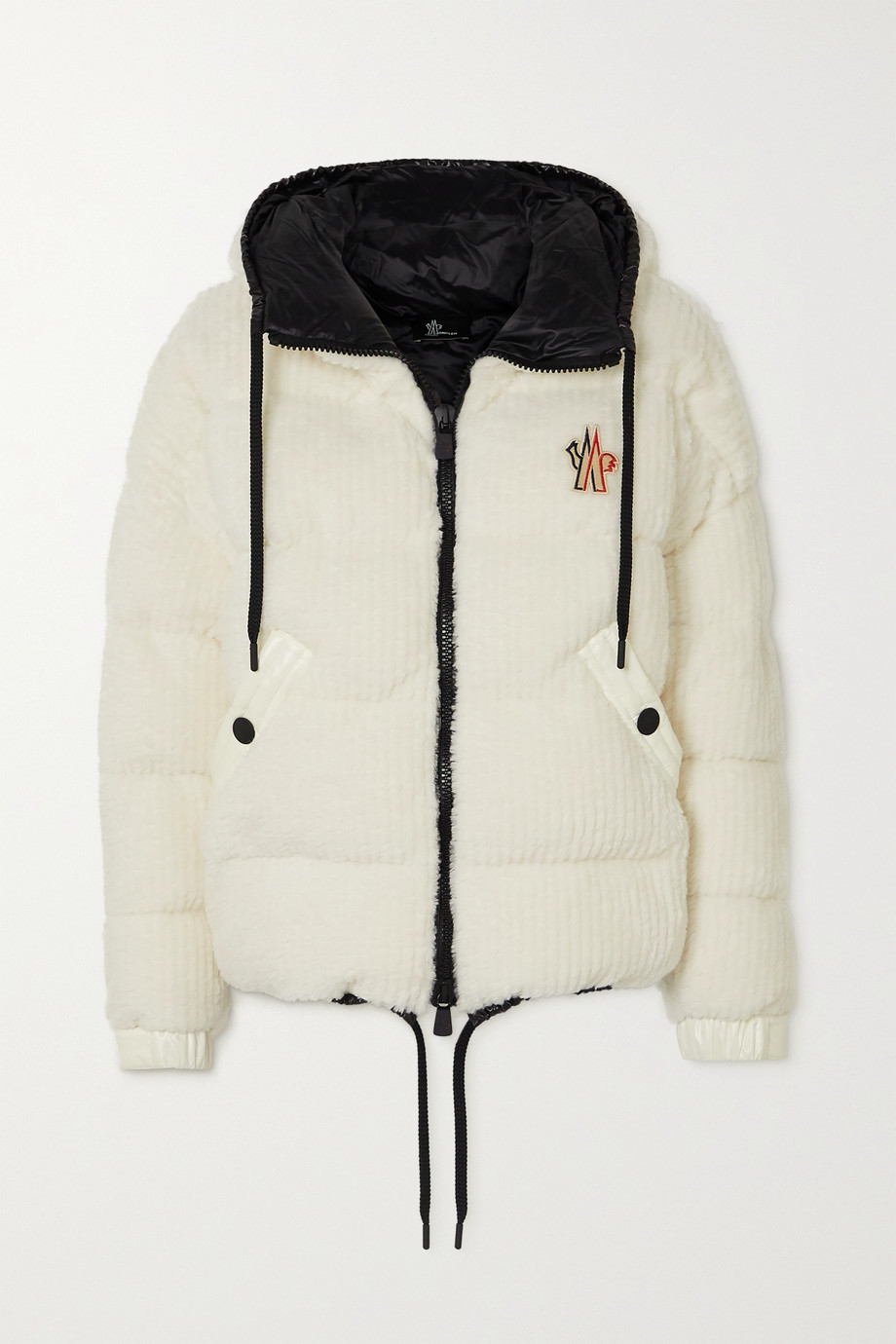Moncler Grenoble Maglia quilted ribbed fleece down ski jacket