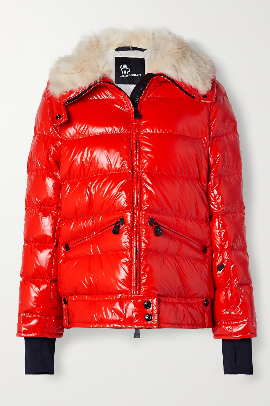 Moncler Grenoble Arabba faux fur-trimmed quilted glossed-shell down jacket