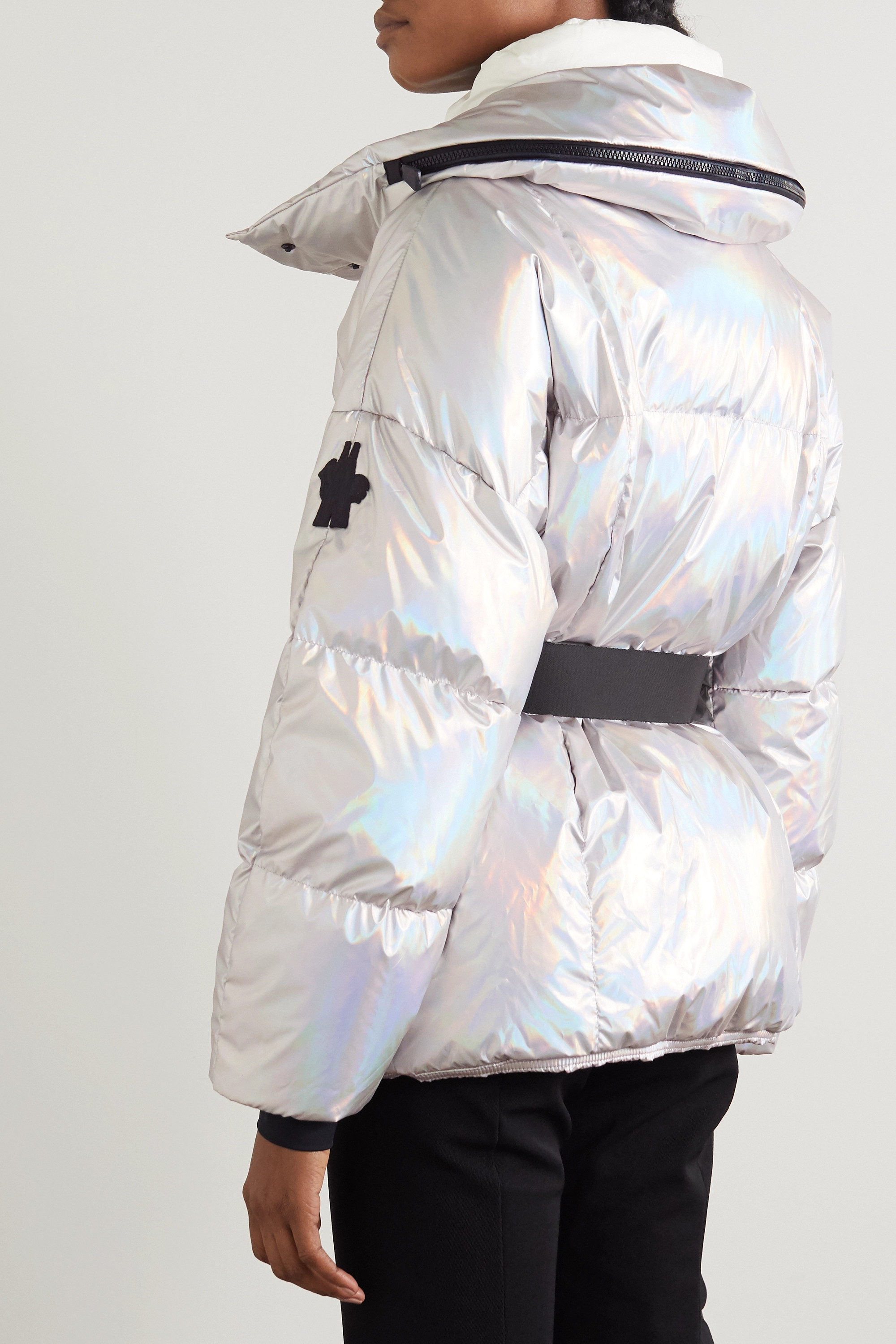 Moncler Grenoble Ollignan hooded belted quilted iridescent down ski jacket