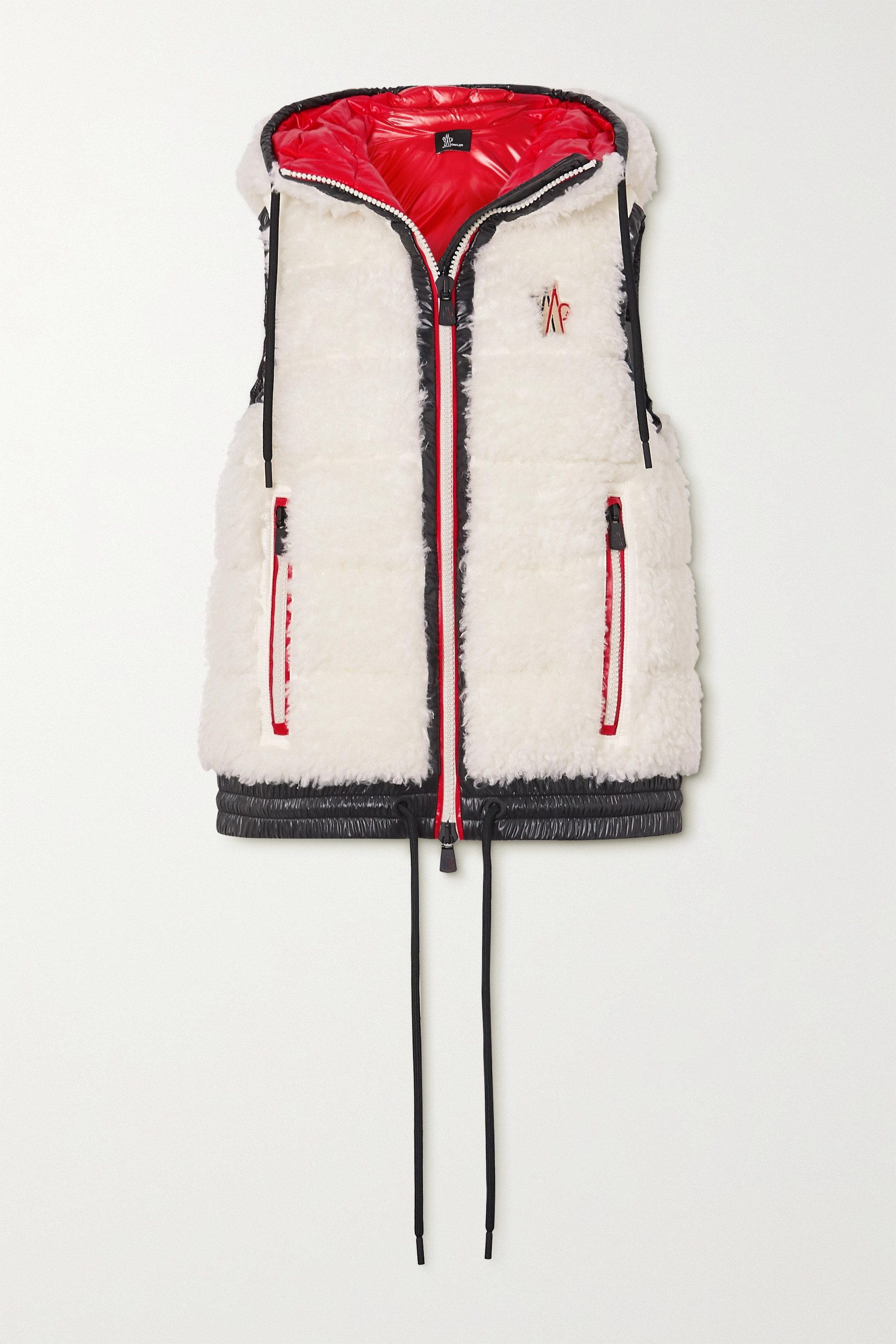 Moncler Grenoble Maglia hooded shell-trimmed faux shearling down vest