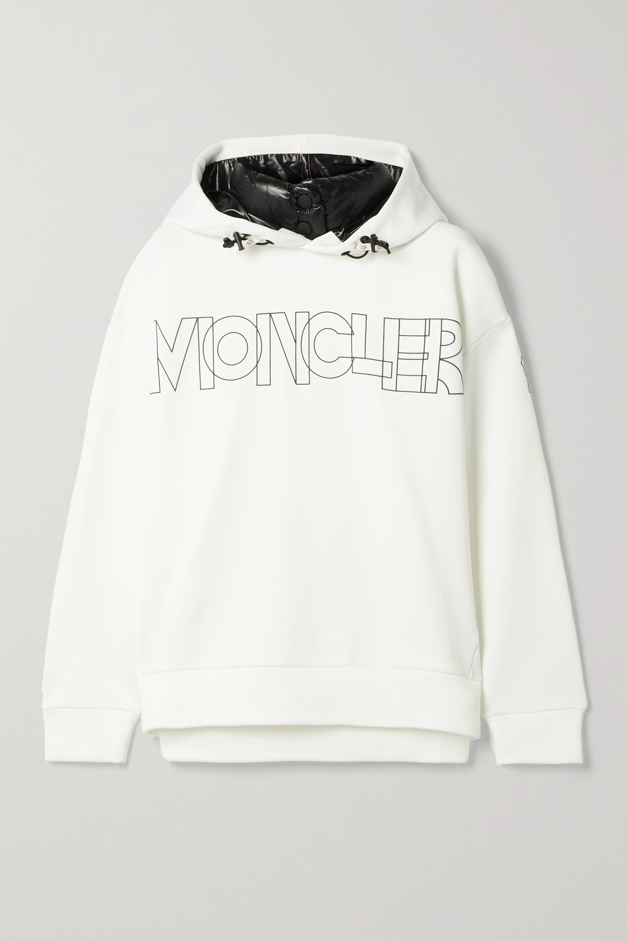 Moncler Grenoble Shell-trimmed printed jersey hoodie