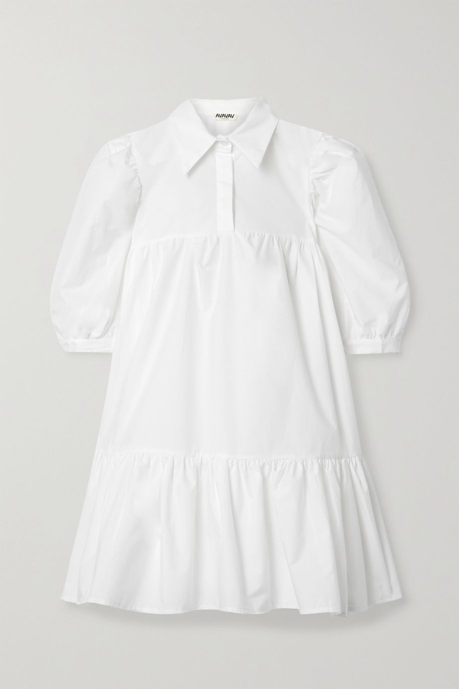 AVAVAV Gathered ruffled cotton-poplin mini dress