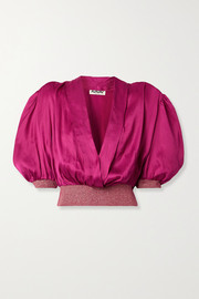 AVAVAV Wrap-effect metallic stretch knit-trimmed satin blouse