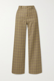 Checked woven straight-leg pants
