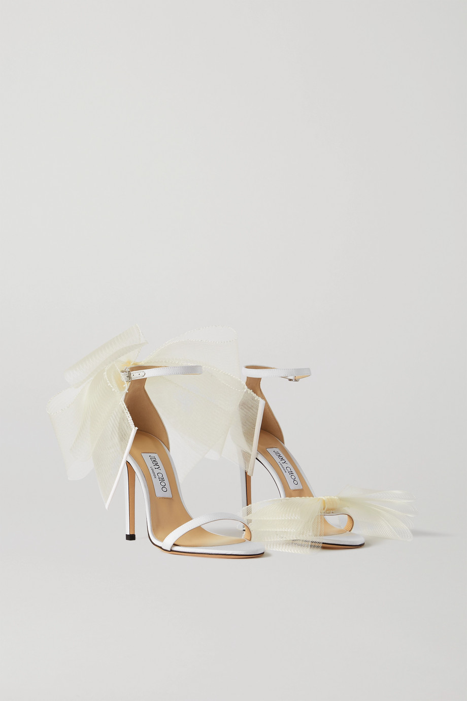 Jimmy Choo Aveline 100 bow-embellished grosgrain sandals