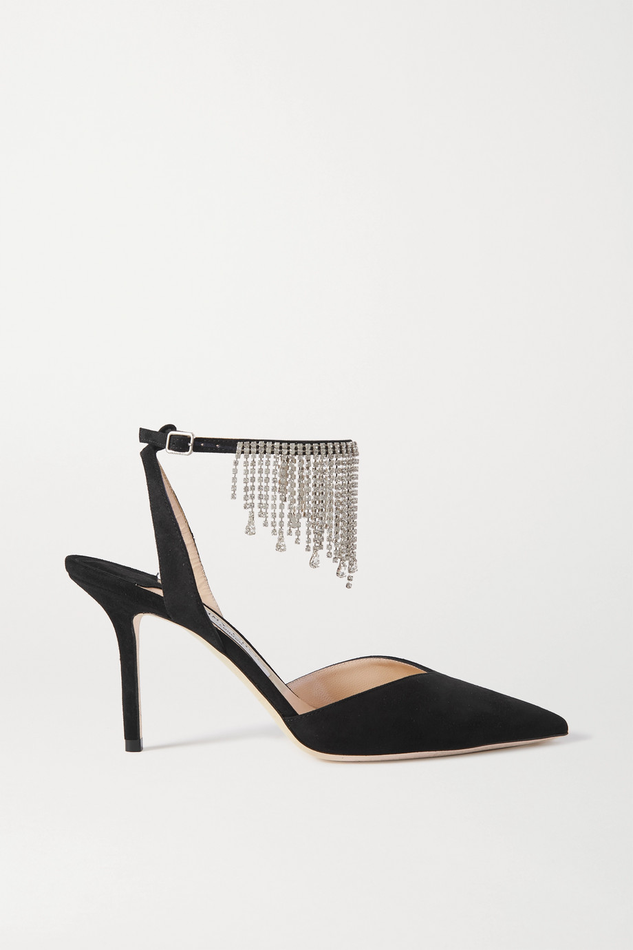Jimmy Choo Bertie 85 crystal-embellished suede pumps