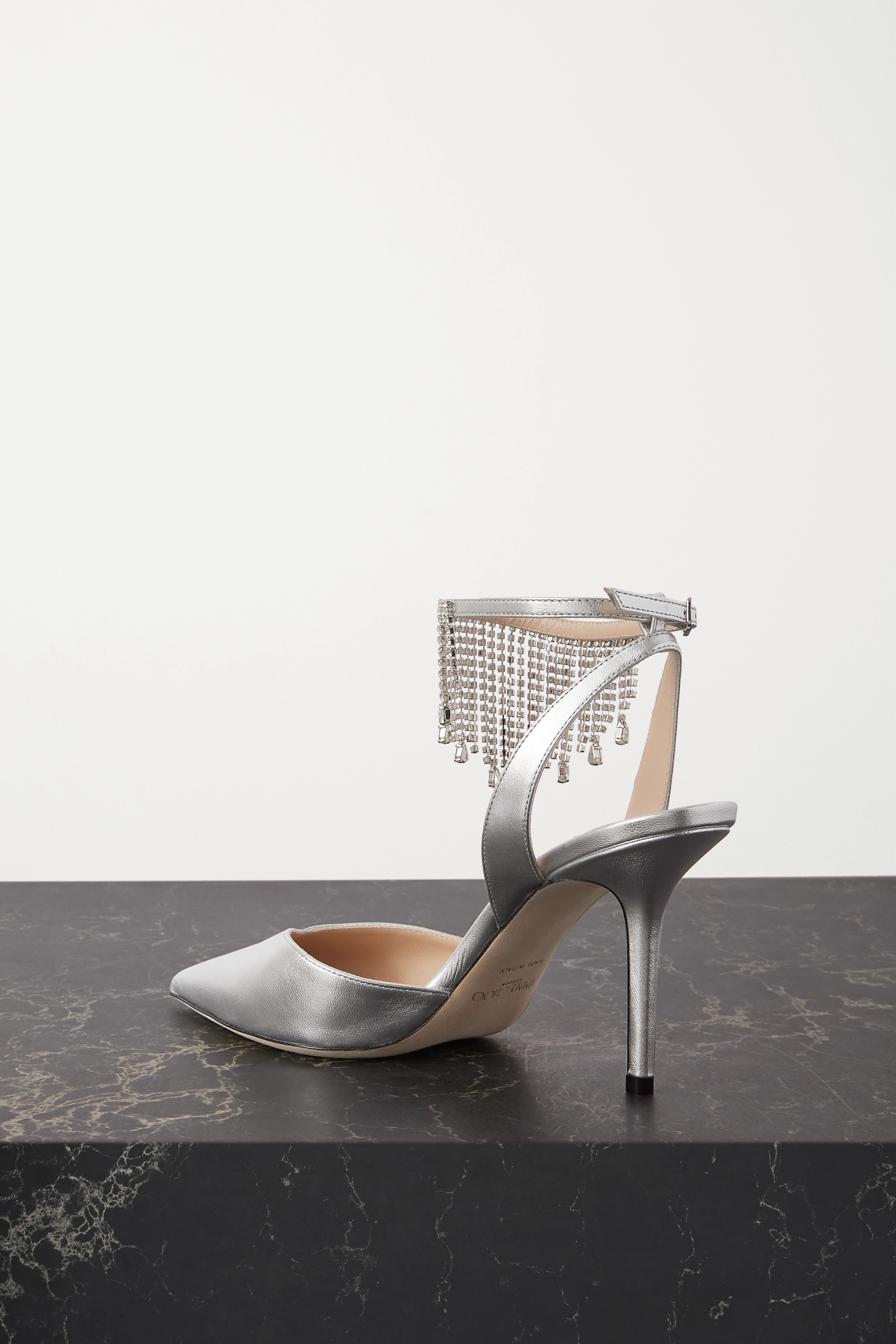 Silver Birtie 85 Crystal-emebllished Metallic Leather Pumps | Jimmy Choo