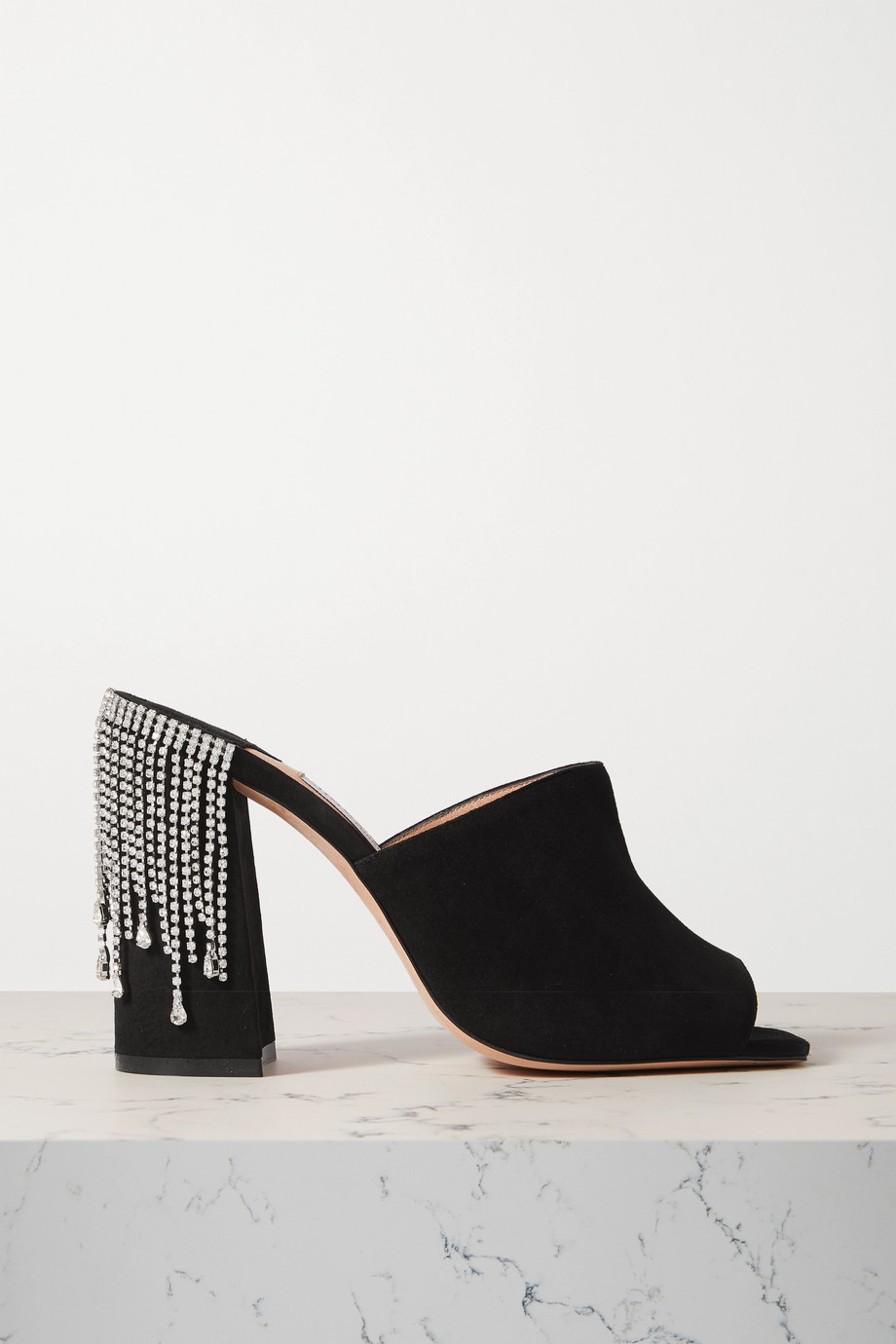 Jimmy Choo Baia 100 crystal-embellished suede mules