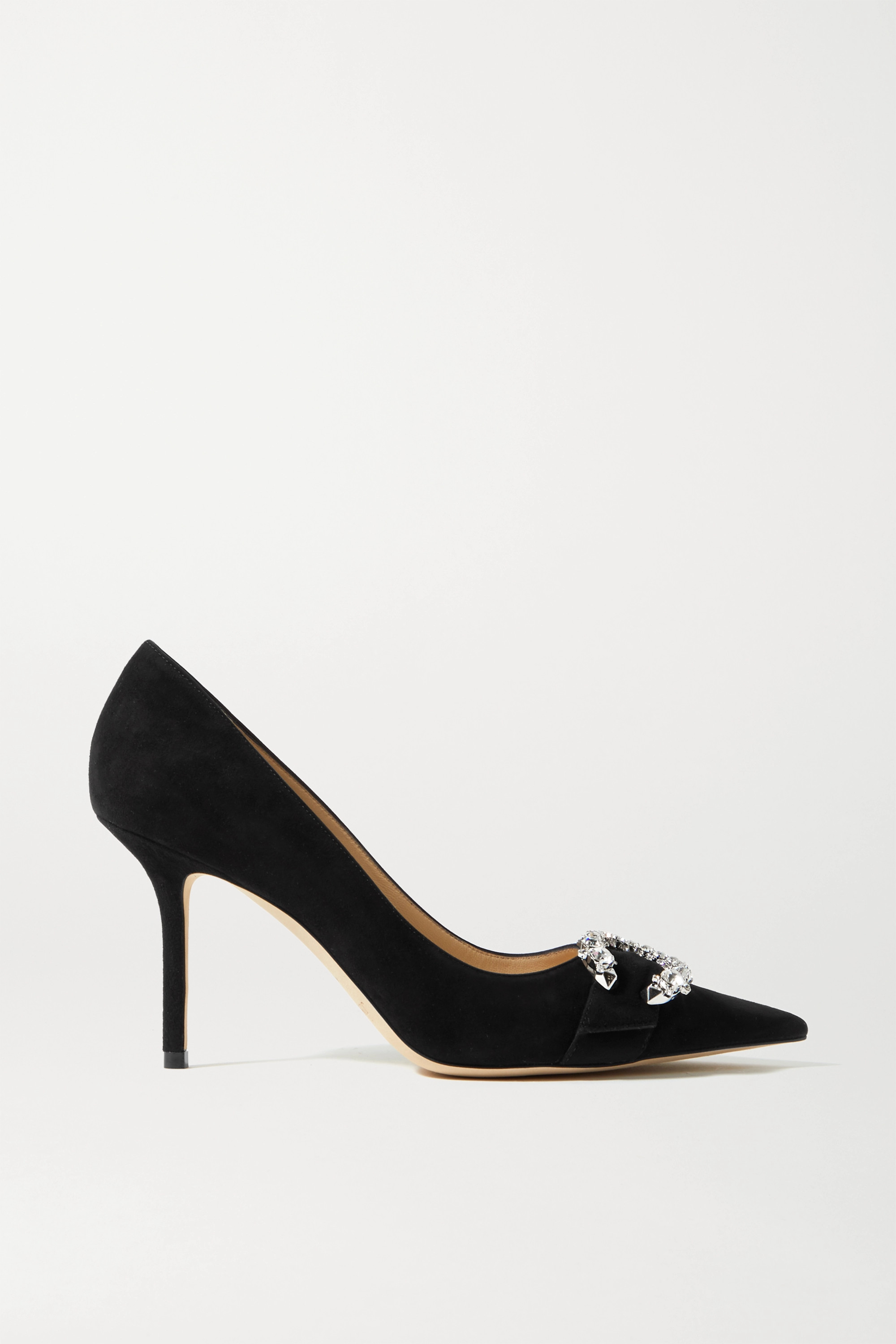 Jimmy Choo Saresa 85 crystal-embellished suede pumps