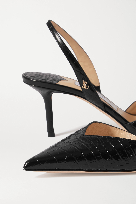 Jimmy Choo Thandi 65 croc-effect leather slingback pumps