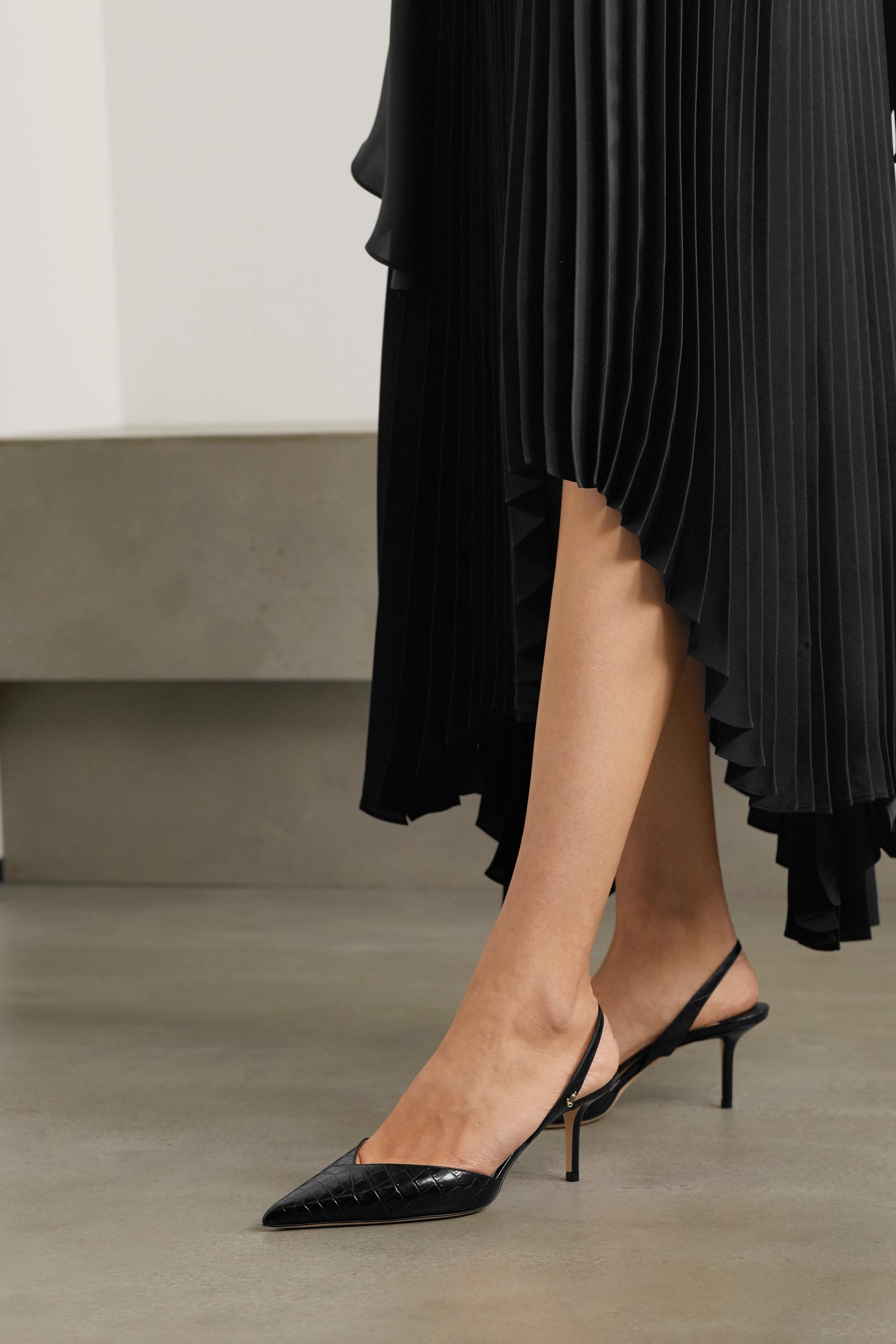 Black Thandi 65 croc-effect leather