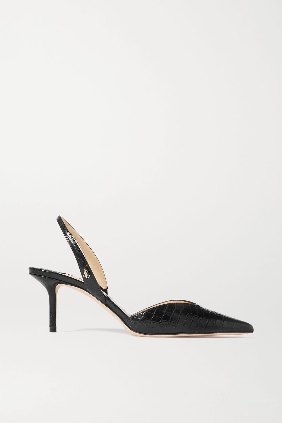 Jimmy Choo Thandi 65 croc-effect leather slingback pumps