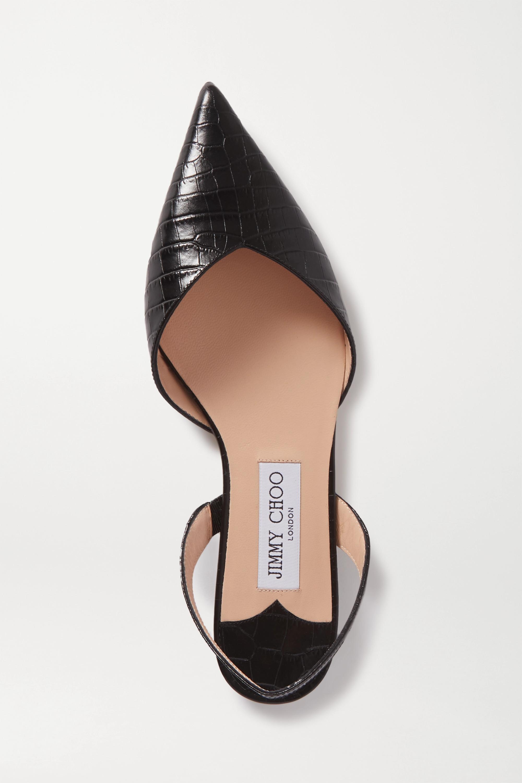 Jimmy Choo Thandi 仿鳄鱼纹皮革露跟尖头平底鞋