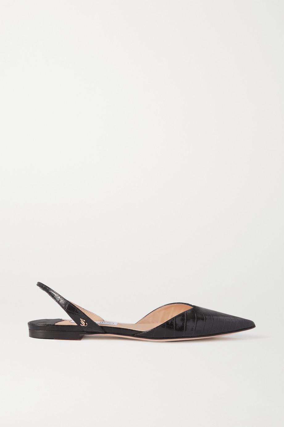 Jimmy Choo Chaussures plates à bouts pointus et à brides en cuir effet croco Thandi